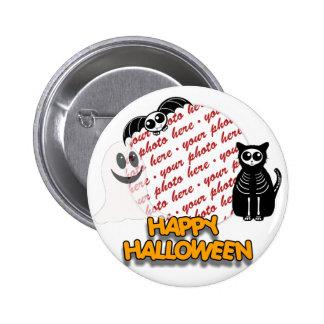 Cartoon Skeleton Cat, Bat & Ghost Photo Frame 2 Inch Round Button