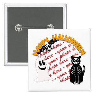 Cartoon Skeleton Cat, Bat & Ghost Photo Frame 2 Inch Square Button
