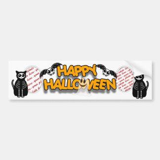 Cartoon Skeleton Cat, Bat & Ghost Photo Frame Car Bumper Sticker