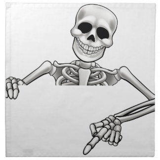 Cartoon Skeleton Pointing Sign Napkin