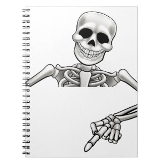 Cartoon Skeleton Pointing Sign Notebook