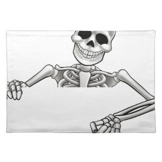 Cartoon Skeleton Pointing Sign Placemat