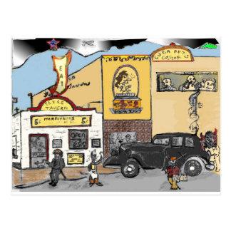 Cartoon Sketch of Roanoke's Landmark Texas Tavern Postcard