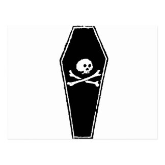 Cartoon Skull and Cross Bones in Coffin by Chillee Postcard