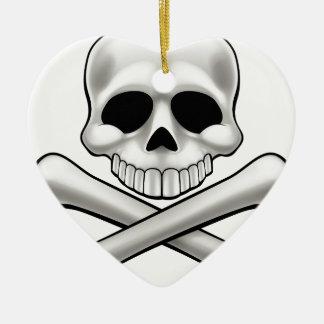 Cartoon Skull and Crossbones Jolly Roger Ceramic Ornament