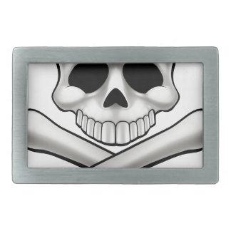 Cartoon Skull and Crossbones Jolly Roger Rectangular Belt Buckles