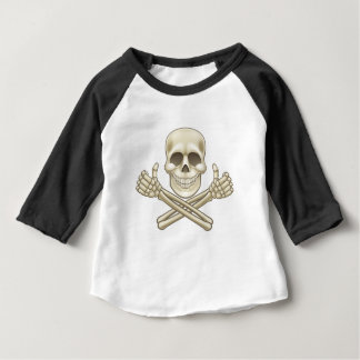 Cartoon Skull and Crossbones Pirate Thumbs Up Baby T-Shirt