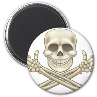 Cartoon Skull and Crossbones Pirate Thumbs Up Magnet