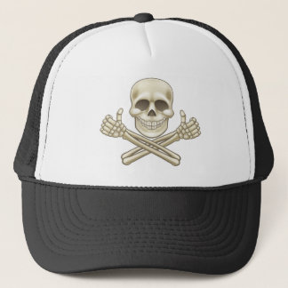 Cartoon Skull and Crossbones Pirate Thumbs Up Trucker Hat