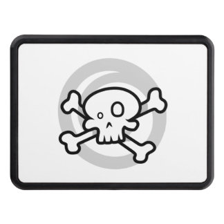 Cartoon Skull & Cross Bones Swirl Trailer Hitch Cover