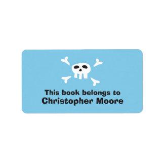 Cartoon skull pirate blue bookplate book plates label