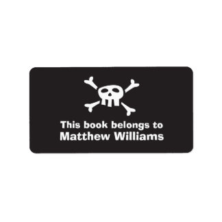 Cartoon skull pirate flag bookplate book plates label