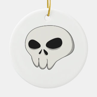 cartoon skull round ceramic ornament