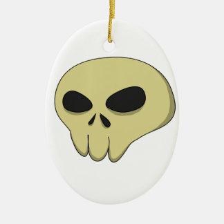 Cartoon skull sepia ceramic oval ornament
