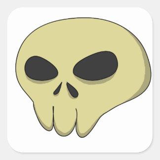 Cartoon skull sepia square sticker