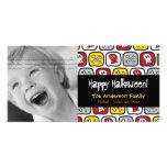 Cartoon Skulls Bones Happy Halloween Photo Card