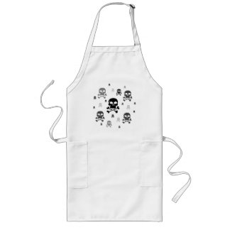 Cartoon Skulls Collage - Greyscale Aprons