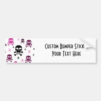 Cartoon Skulls Collage - Pink Bumper Sticker