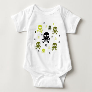 Cartoon Skulls Collage - Yellow Baby Bodysuit