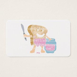 Cartoon slice of bread with jam business card
