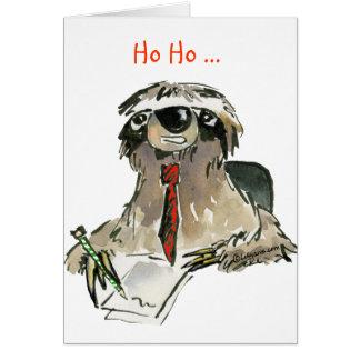 Cartoon Sloth Holiday Greeting Card