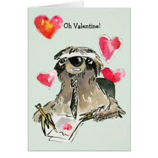 Cartoon Sloth Valentines Day Card