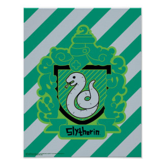 Cartoon Slytherin Crest Poster