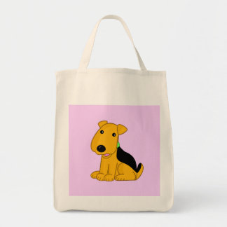 Cartoon Smiley Puppy Airedale Terrier Dog Tote! Tote Bag