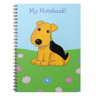Cartoon Smiley Puppy in Field of Flowers Notebook