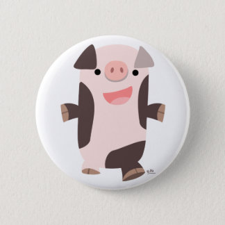 Cartoon Smiling Pig button badge