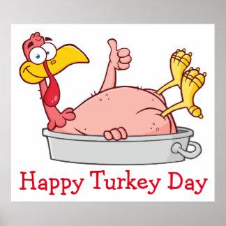 cartoon smiling turkey in pan poster