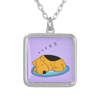Cartoon Snoring Airedale Terrier Dog Necklace