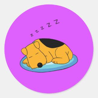 Cartoon Snoring Airedale Terrier Dog Round Sticker