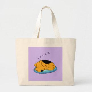 Cartoon Snoring Airedale Terrier Jumbo Tote Bag
