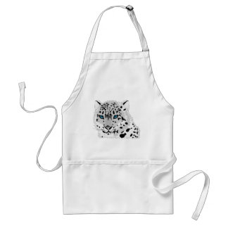 Cartoon Snow Leopard Face Standard Apron