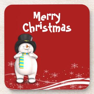 Cartoon Snowman Christmas Drink Coaster