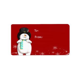 Cartoon Snowman Christmas Gift Tag Labels