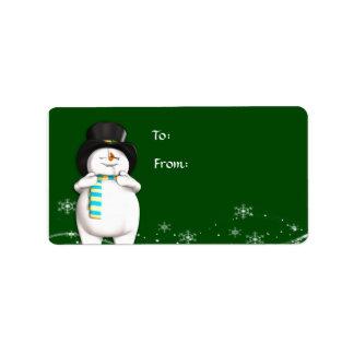 Cartoon Snowman Christmas Gift Tag Address Label