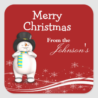 Cartoon Snowman Christmas Gift Tags
