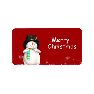 Cartoon Snowman Christmas Gift Tags Custom Address Label