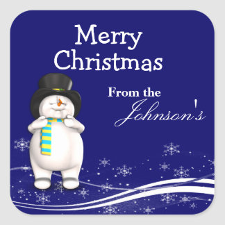 Cartoon Snowman Christmas Gift Tags Square Sticker