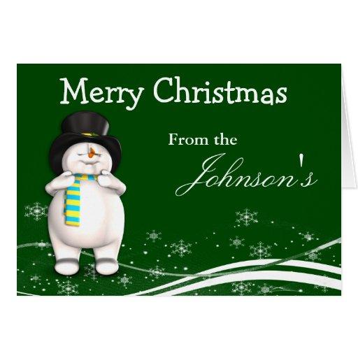 Cartoon Snowman Christmas Greeting Cards