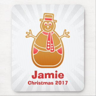 Cartoon Snowman Gingerbread Cookie Customize Mouse Pad