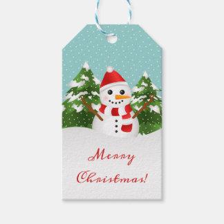 Cartoon Snowman Illustration Merry Christmas Gift Tags