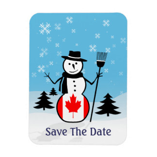 Cartoon Snowman in Field of Snow and Canada Flag Magnet