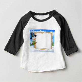 Cartoon Snowman Sign Scene Baby T-Shirt