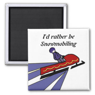 Cartoon Snowmobile with Saying Square Magnet