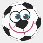 Cartoon Soccer Ball Classic Round Sticker
