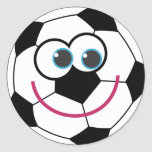 Cartoon Soccer Ball Round Sticker
