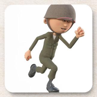 Cartoon Soldier Running Beverage Coasters